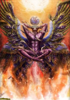 The Peacock Angel, Melek Taus; in singular aspect of the dual-form of the Great Opposer