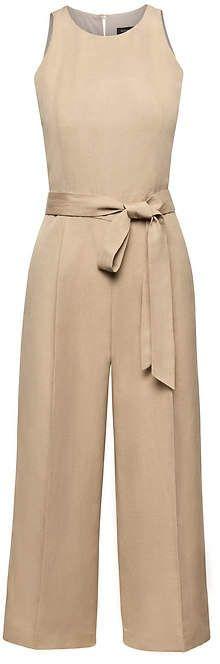 Cropped Linen-Blend Wide-Leg Jumpsuit