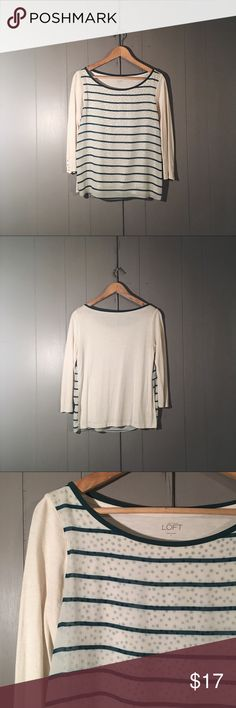 🌙 Hunter Green & Cream Sheer Overlay Painters Top Adorable top in good used condition! Striped Sheer front panel over Polka dot tee. Buttons on cuffs. So cute! Does show signs of washing in some areas under the arms (piling) and back area. Offers are welcome. LOFT Tops