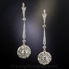 Edwardian Diamond Drop Earrings - Antique & Vintage Earrings - Vintage Jewelry