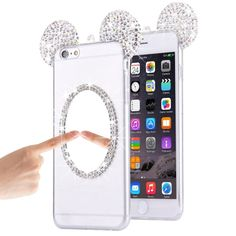 [$2.15] For iPhone 6 & 6s Mouse Ear Diamond Pattern Transparent TPU Protective Case with Lanyard & Mirror(Silver)