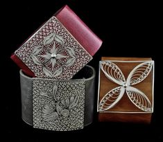 Leather cuffs by Olmox Jewelry, handcrafted sterling silver filigree, available at www.olmox.com