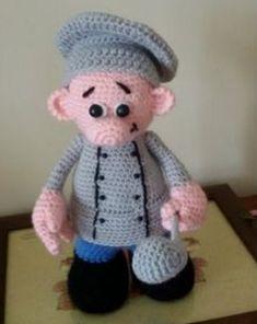 Cuoco amigurumi, chef a uncinetto. Schema in italiano. #crochet