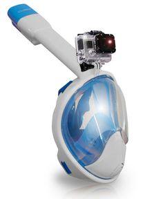 AquaMask – Full Face Snorkel Mask (White-Blue)