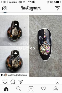 black nail art with some details! - - black nail art with some details! Nail Art Noel, Xmas Nail Art, Christmas Nail Art Designs, Xmas Nails, Winter Nail Art, Holiday Nails, Winter Nails, Halloween Nails, Christmas Nails