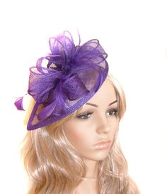 PURPLE SINAMAY FASCINATOR FEATHERS HAT RACES WEDDING MILLINERY MELBOURNE CUP 5b356a531aa4