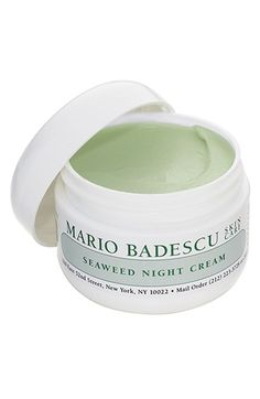 Bought this on a lark and am now in love with it.  I now look forward to my nightly beauty regime.   Mario Badescu Seaweed Night Cream. A luxuriously silky overnight cream with absolutely no oil or pore-clogging ingredients. Nourishing, mineral-rich seaweed restores vitality to dehydrated skin, and hyaluronic acid and collagen lock in natural moisture.