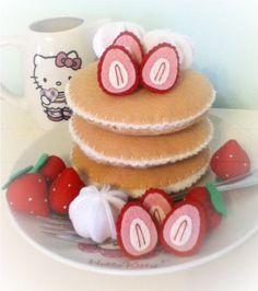 gorgeous yummy felt food strawberries and cream by nicolaluke, $25.00