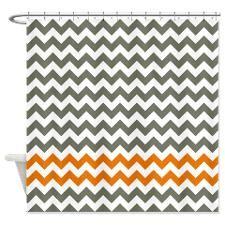 Gray and Orange Chevron Stripes Shower Curtain