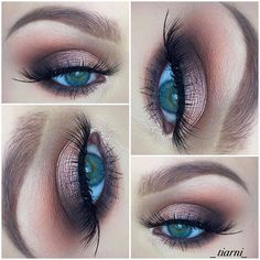 Smoky eye with pink shimmer.
