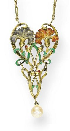 AN ART NOUVEAU GOLD, ENAMEL AND PEARL PENDANT NECKLACE  -  The openwork foliate plaque centering upon two carnations, in rose and lavender enamel, enhanced by rose and lavender buds, green enamel leaves, and gold scrollwork, suspending a baroque pearl drop, from an oval link gold chain, mounted in gold, circa 1900.