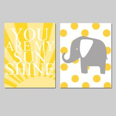 Modern Nursery Art - Sunshine Elephant - Set of Two 8x10 Prints - You Are My Sunshine and Polka Dot Elephant - Yellow, Gray, Black. $39.50, via Etsy.