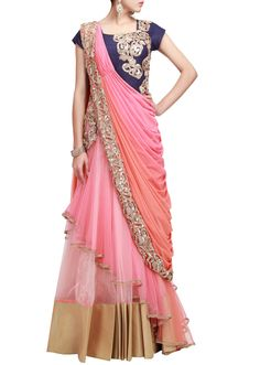 Pre stitched embroidered saree gown in peach and pink only on Kalki by Ruchi Roongta