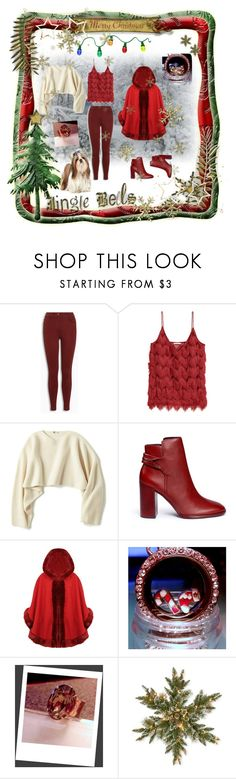 """Dressing for Christmas ... with Charmed Heartz"" by cozeequilts ❤ liked on Polyvore featuring Uniqlo, Mercedes Castillo and National Tree Company"
