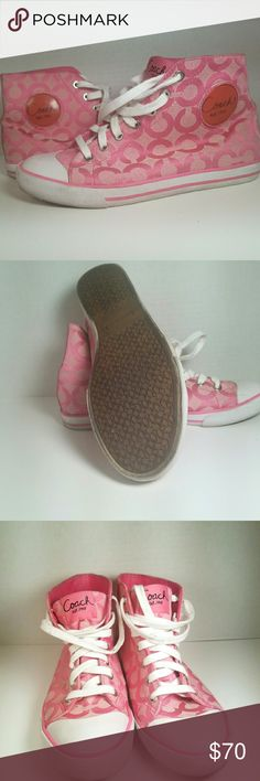Coach Cardinal Pink High Top Sneaker And this listing is a pair of pink Coach Cardinal hi- top sneakers in Like New condition. The bottoms of the shoes have very little wear. Overall the shoes of very nice. The pink version of this shoes seems to be hard to find. Coach Shoes Sneakers