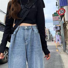 Ulzzang Fashion, Indie Fashion, Asian Fashion, Look Fashion, Edgy Outfits, Cute Outfits, Fashion Outfits, Cut Jeans, Wide Leg Jeans