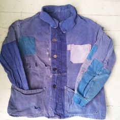 French indigo chore jacket with patches and repairs
