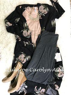 #LularoeCarolynAshly amazing Lularoe outfit!  Sarah cardigan flat lay pink classic