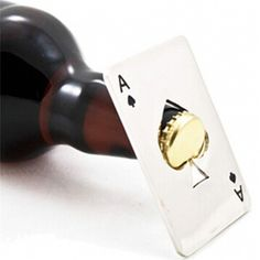 New Stylish Hot Sale 1pc Poker Playing Card Ace of Spades Bar Tool Soda Beer Bottle Cap Opener Gift  Price: 1.55 USD