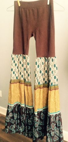 SALE Upcycled Boho/Gypsy Pants Browns blues by IslandChickDesigns