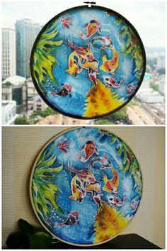 Batik art by Feliciazoe $78 per piece. #japan #koi #fish #carp #eight #round #painting #deco #house #batik #waterproof for more info email felicazoe@live.com Batik Art, Carp, Koi, Aurora, Japan, Fish, Deco, House, Painting