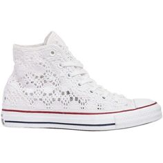 Converse Women Chuck Taylor Crocheted Cotton Sneakers CAD) ❤ so cute! Estilo Converse, Cute Converse, White Converse Shoes, Converse Trainers, Outfits With Converse, White Shoes, White Sneakers, Shoes Sneakers, Jean Outfits