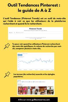 Comment générer plus de trafic vers ton site et optimiser ta présence avec l'outil Tendances de Pinterest, son outil de mots clés ? Pour l'instant, l'outil Tendances (Pinterest Trends) est uniquement disponible pour les Etats-Unis, le Canada et le Royaume-Uni. Après, mon petit doigt me dit qu'il risque de bientôt débarquer en France. #pinteresttrends #pinterestmarketing #consultantpinterest #marketingdigital