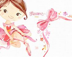 Pink Ballerina. Watercolor clipart little girl ballet