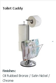 Our toilet caddies are available in a wide array of designs with various storage capacities. All are compact in size with stunning finishes to complement any décor. Perfect for even the tightest of bathrooms, a toilet caddy is a strong, sturdy, space-saving solution.  https://www.dispenser.com/toilet-caddies/