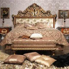Classic bedroom Emperador Black, carved wood, black and gold leaf finish, carved night table, upholstered capitonné bench Vimercati of Italy