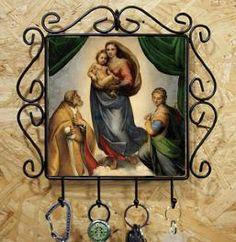 ラファエロ 「 システィーナの聖母 」カギ掛けフォトタイル