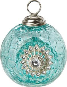Turquoise Blue Place Card Holder (jewel glass bauble)