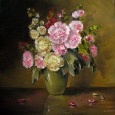 JEANNE ILLENYE - Still Lifes: miniature floral still life oil painting hollyhock...