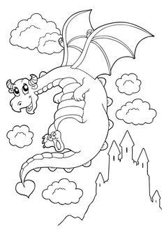 ausmalbild burg drache …   creative coloring pages   drachen ausmalbilder, ausmalbilder und