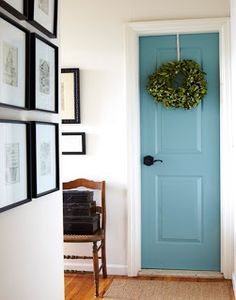 Teal interior door!  Beautiful!!!  great idea