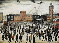 LS Lowry: Going to Work, 1943 (Outside the factories in industrial towns in England).