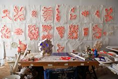 Mary Button Durell -  she essentially only uses tracing paper and wheat paste http://www.postera.com/marybuttondurell