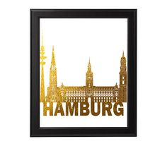 Wall Art Print, Hamburg Germany Print, city country print art monument Gold colored, art faux gold foil, wrinkled gold by HemBee on Etsy