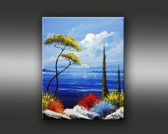 Cyprès et pins parasol en bord de mer - Copyright Bruni Eric.