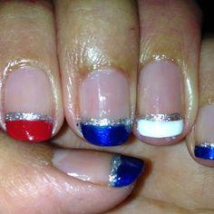 simple 4th of July nails! #nails juli nail, 4th of july firework nails, fourth nails, toe nails 4th of july, nails july, nails fourth july, july4th nails, nail fourth of july, fireworks nails