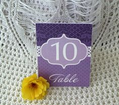 Lavender, Vintage, Lace Wedding, Table Numbers by IrisPola on Etsy, $1.50
