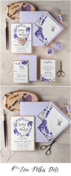 Lavender rustic wedding invitation with birch bark wooden heart tag 4lovepolkadots #sponsored
