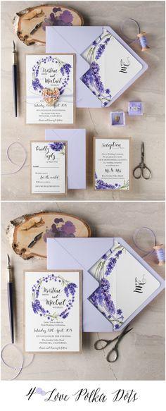 Lavender rustic wedding invitation with birch bark wooden heart tag 4lovepolkadots #sponsored