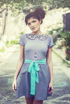 Süßes Kleid mit türkiser Schleife // sweet dress by Chrystal via DaWanda.com