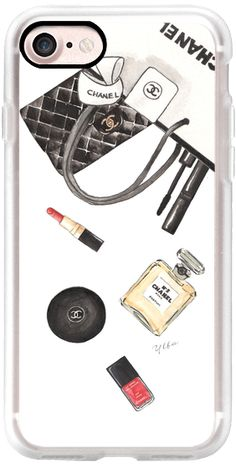 Casetify iPhone 7 Classic Grip Case - WHAT'S IN YOUR SHOPPING BAG? (White Background) C N5 by Ylfa Grönvold Illustrations #Casetify