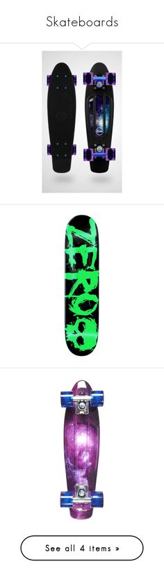 """Skateboards"" by drskullz on Polyvore featuring skateboards, accessories, other, boards, penny boards, fillers, backgrounds, filler, misc and random"