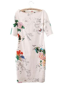 White Floral Short Sleeve Wrap Cotton Blend Dress: 24.50 Rehearsal dinner for mother of the bride?