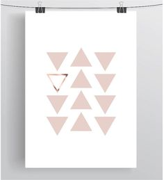 Pink and Copper Print Blush and Copper Art Blush von PrintAvenue