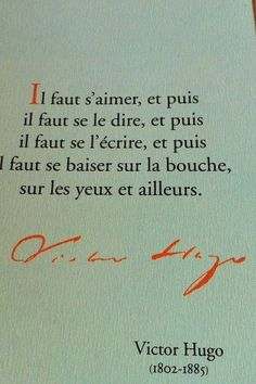 Il faut s'aimer by Victor Hugo Favorite Quotes, Best Quotes, Love Quotes, Inspirational Quotes, Blabla, Words Quotes, Sayings, Burn Out, Quote Citation
