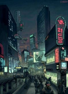 cyberpunk city lights